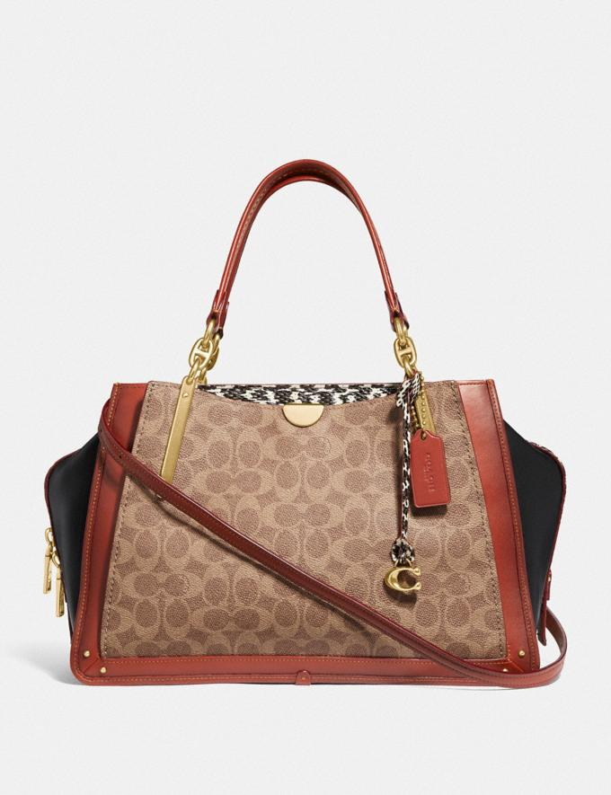 Coach Dreamer 36 in Signature Canvas With Snakeskin Detail Tan/Black Multi/Brass Women Bags Satchels & Carryalls