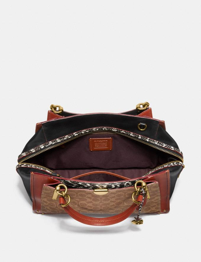 Coach Dreamer 36 in Signature Canvas With Snakeskin Detail Tan/Black Multi/Brass Women Handbags Satchels & Top Handles Alternate View 2