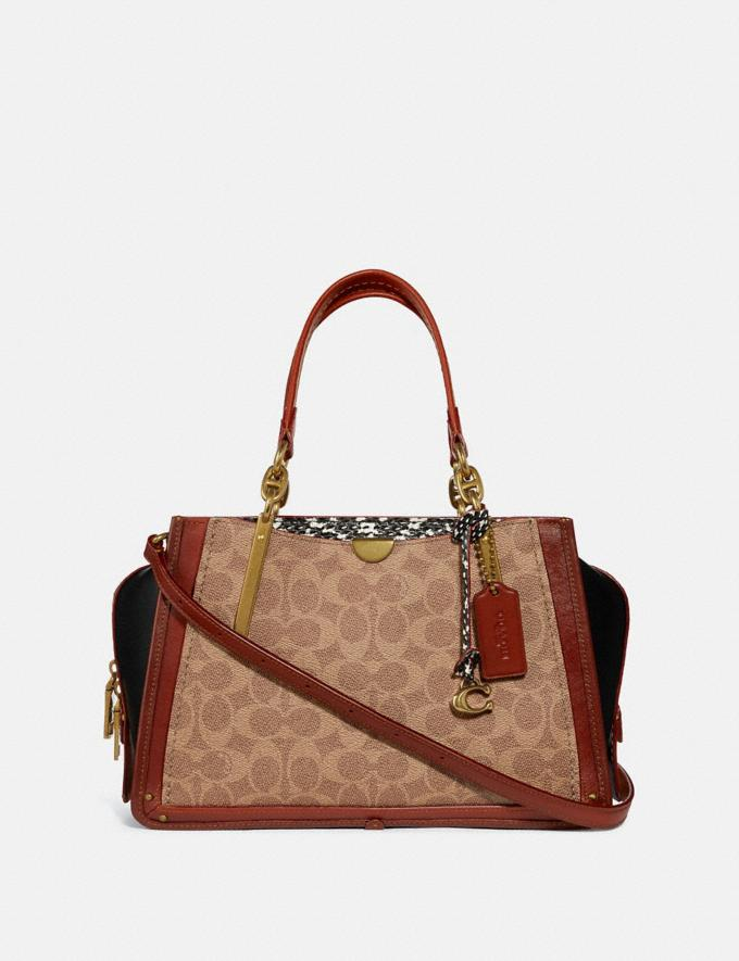 Coach Dreamer in Signature Canvas With Snakeskin Detail Tan/Black Multi/Brass Women Collection Signature