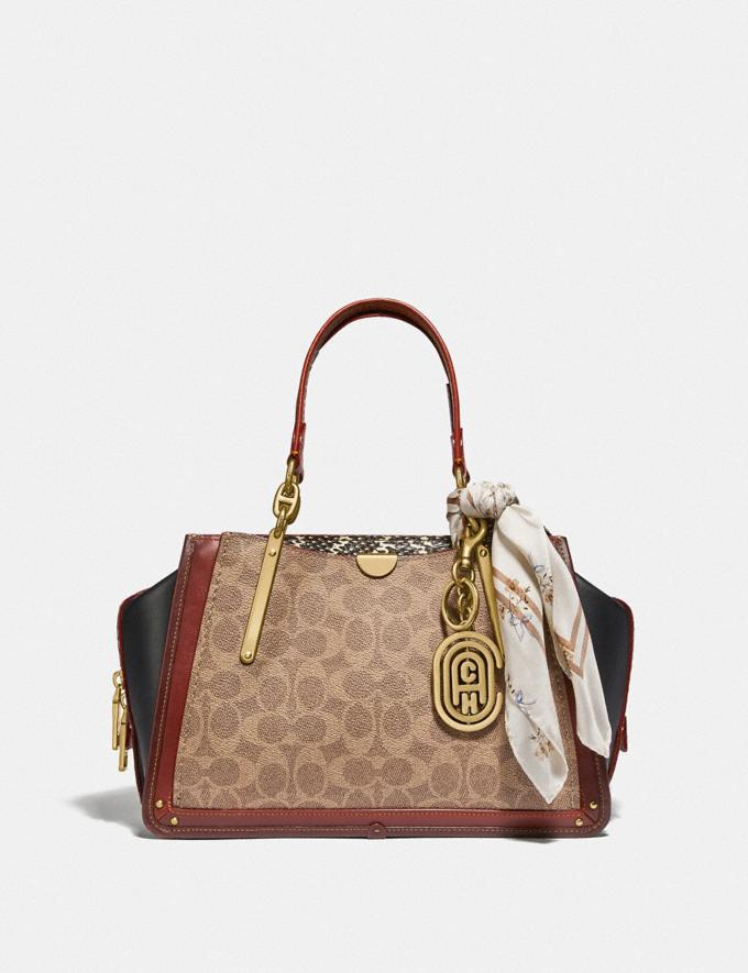 Coach Dreamer in Signature Canvas With Snakeskin Detail Tan/Black Multi/Brass Women Bags Satchels Alternate View 3
