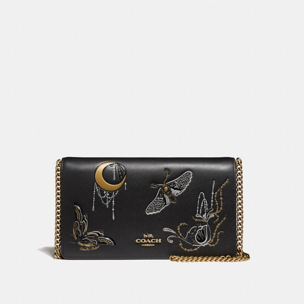 FOLDOVER CHAIN CLUTCH WITH TATTOO