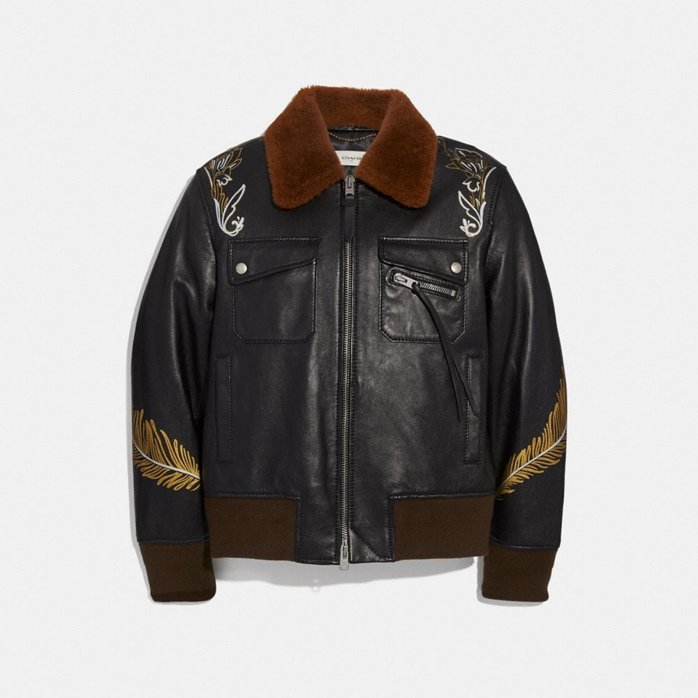 TATTOO BOMBER WITH SHEARLING COLLAR