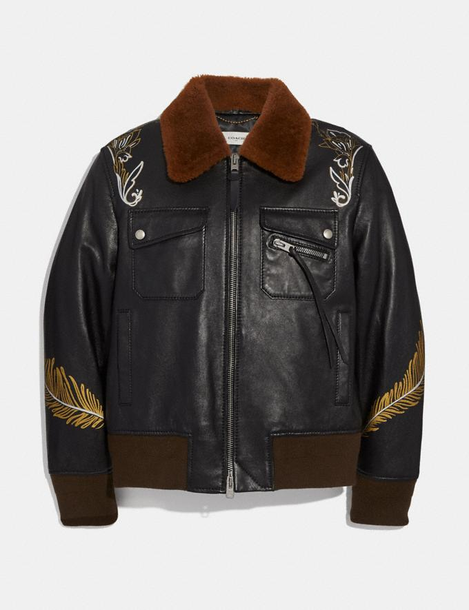 Coach Tattoo Bomber With Shearling Collar Black