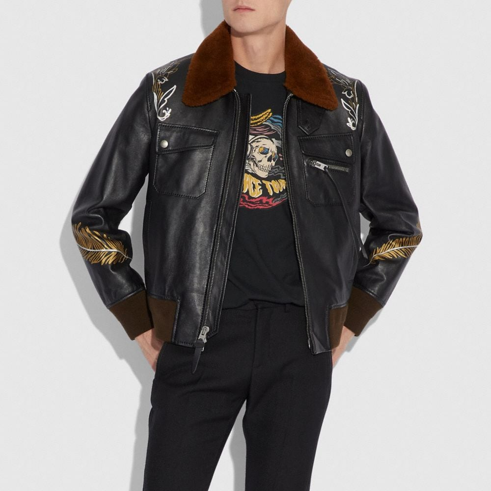 Coach Tattoo Bomber With Shearling Collar Alternate View 1