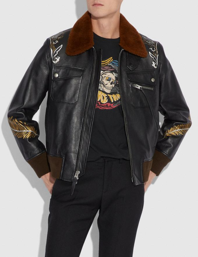 Coach Tattoo Bomber With Shearling Collar Black  Alternate View 1