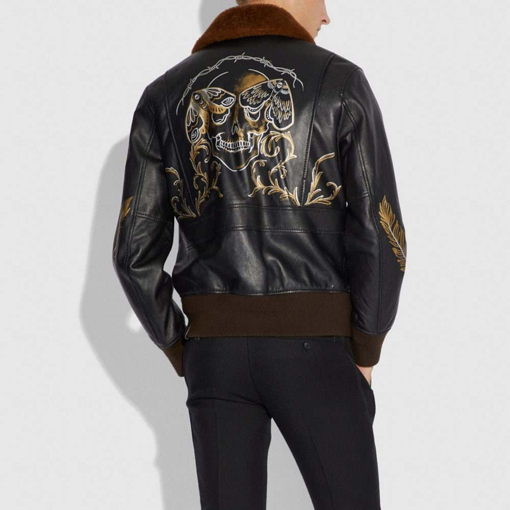 Coach Tattoo Bomber With Shearling Collar Alternate View 2