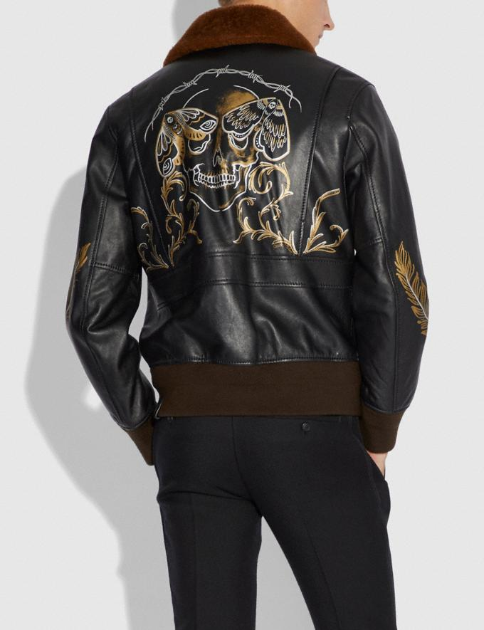 Coach Tattoo Bomber With Shearling Collar Black  Alternate View 2