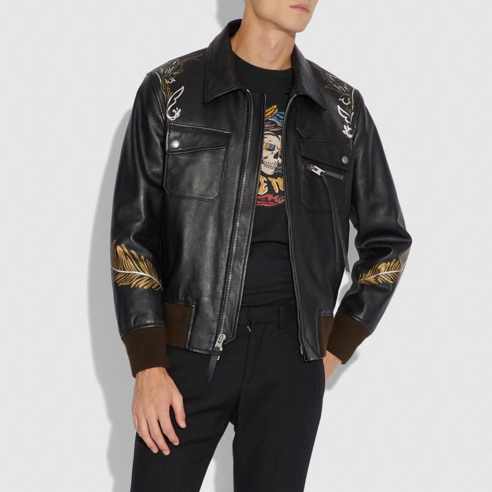 Coach Tattoo Bomber With Shearling Collar Alternate View 3