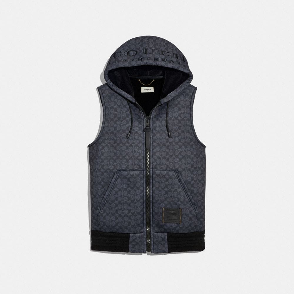 "Coach Signature ""Couch"" Hoodie Vest"