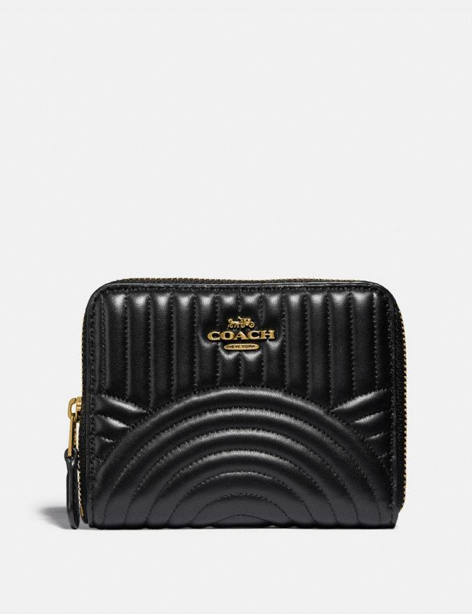 Coach Small Zip Around Wallet With Deco Quilting Black/Brass 30% off Select Full-Price Styles