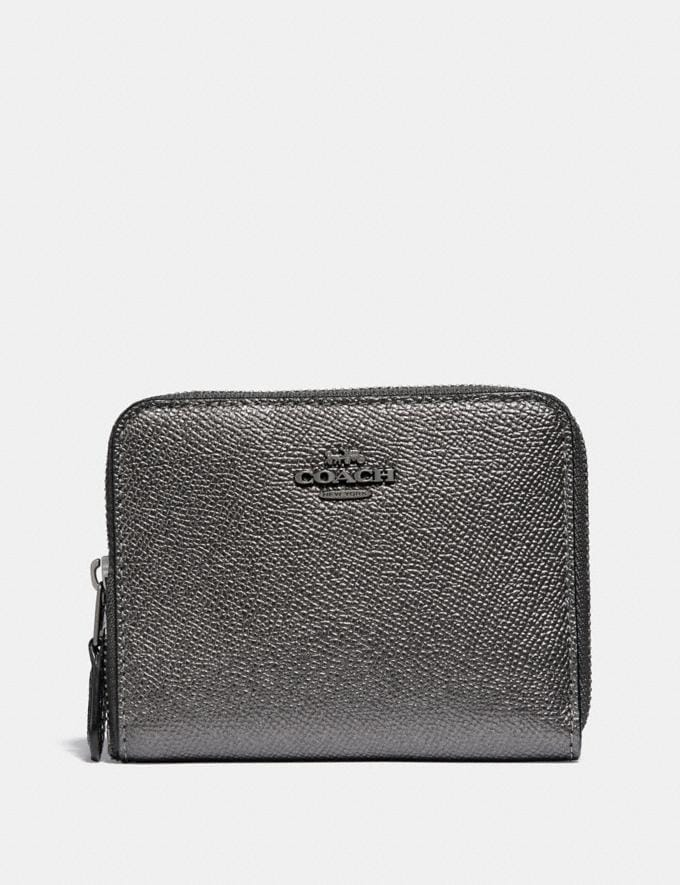 Coach Small Zip Around Wallet Metallic Graphite/Gunmetal Women Small Leather Goods Small Wallets