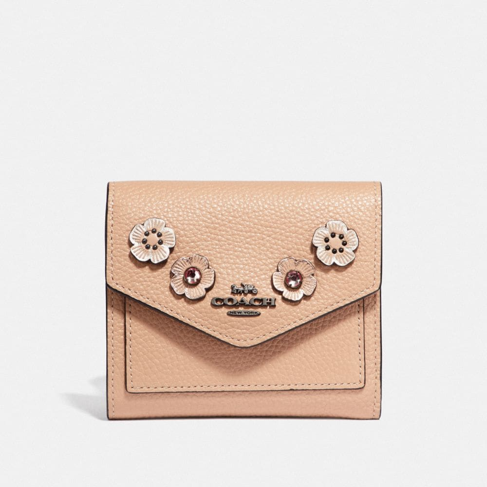 Coach Small Wallet With Crystal Tea Rose