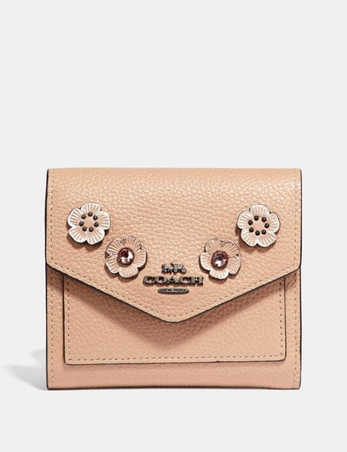 Coach Small Wallet With Crystal Tea Rose Nude Pink/Gunmetal Women Small Leather Goods Small Wallets