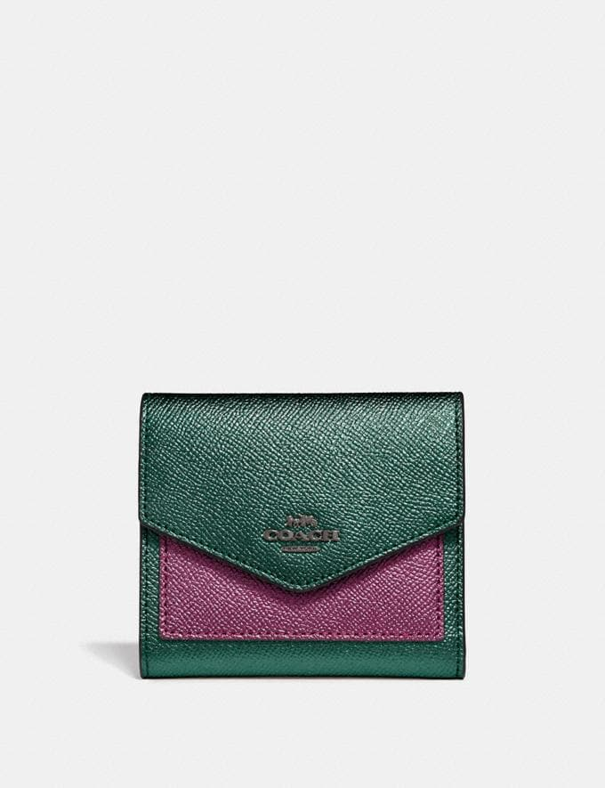 Coach Small Wallet in Colorblock Metallic Graphite Multi/Gunmetal Women Small Leather Goods Small Wallets