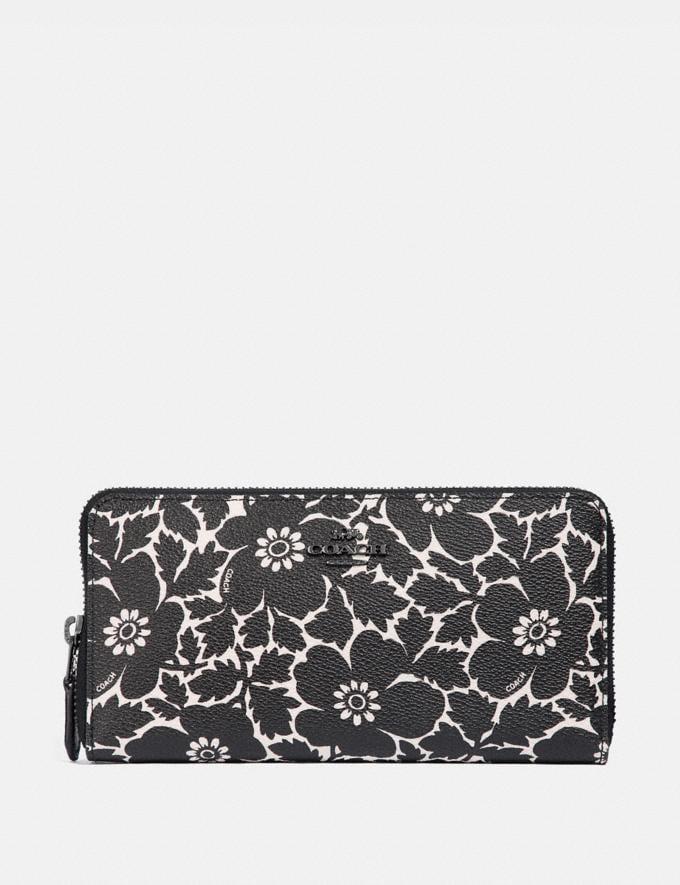 Coach Accordion Zip Wallet With Anemone Print Black Multi/Gunmetal Women Wallets & Wristlets Large Wallets