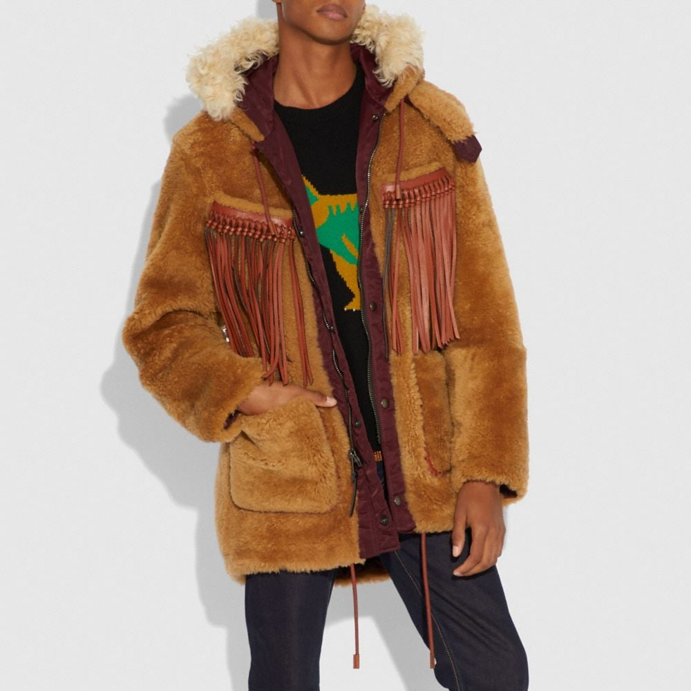 Coach Western Parka With Fringe Alternate View 1
