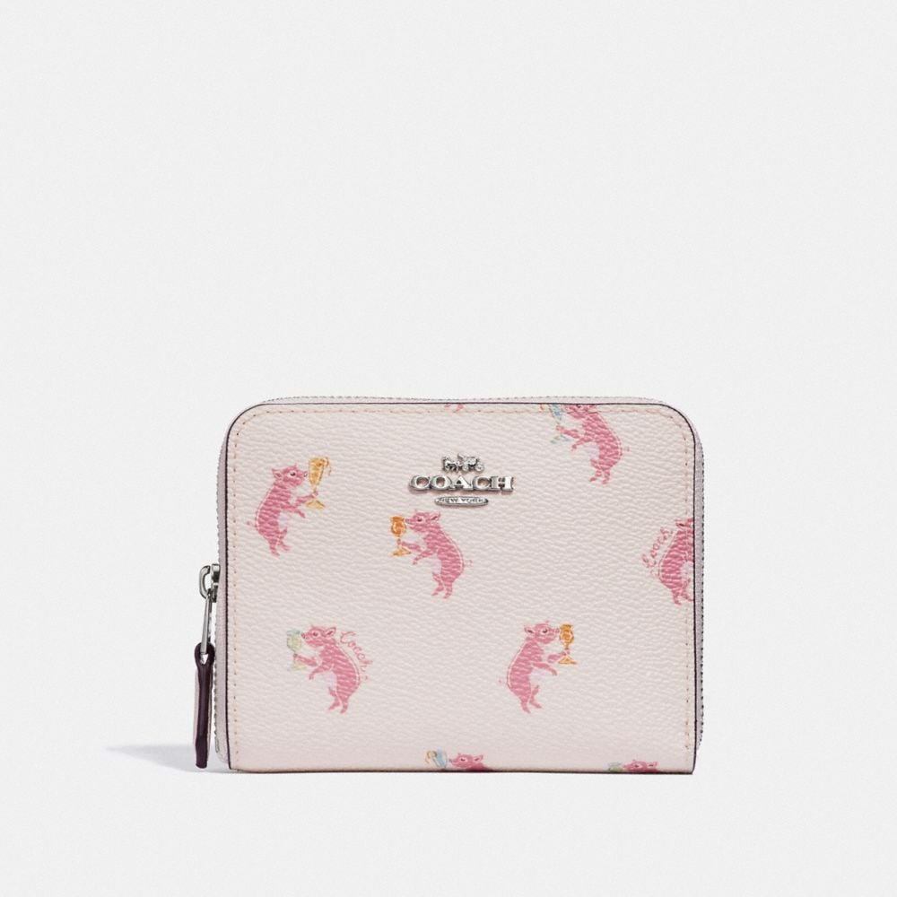 Coach Small Zip Around Wallet With Party Pig Print