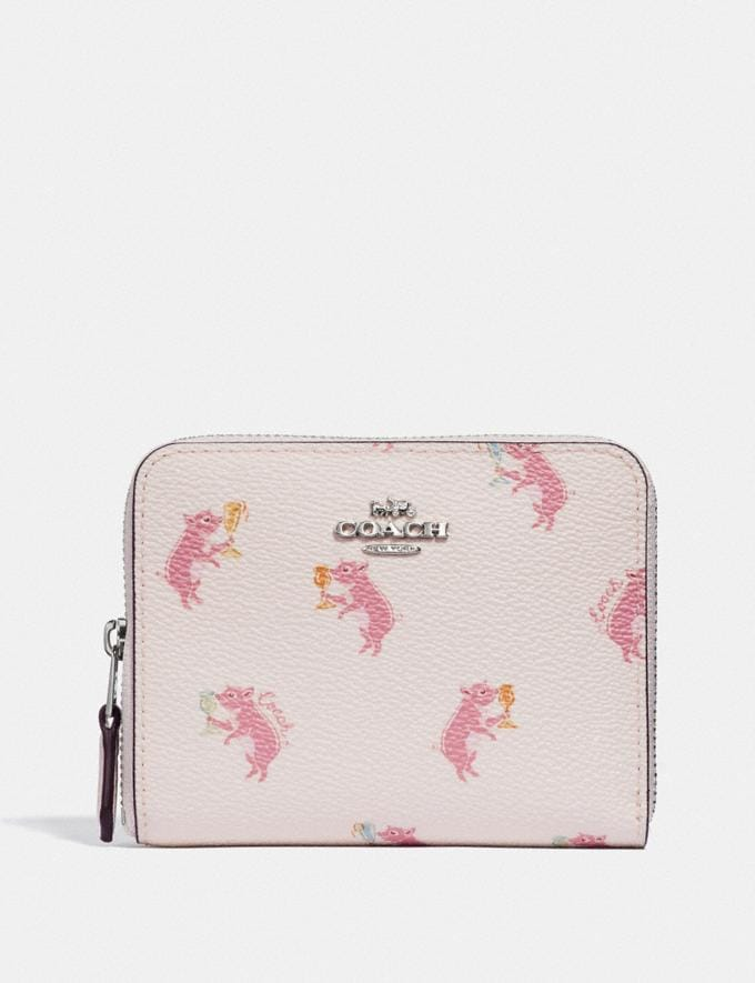 Coach Small Zip Around Wallet With Party Pig Print Chalk/Silver Women Wallets & Wristlets Small Wallets