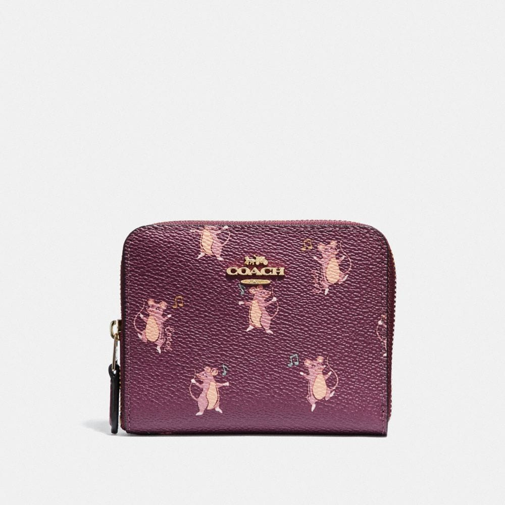 Coach Small Zip Around Wallet With Party Mouse Print