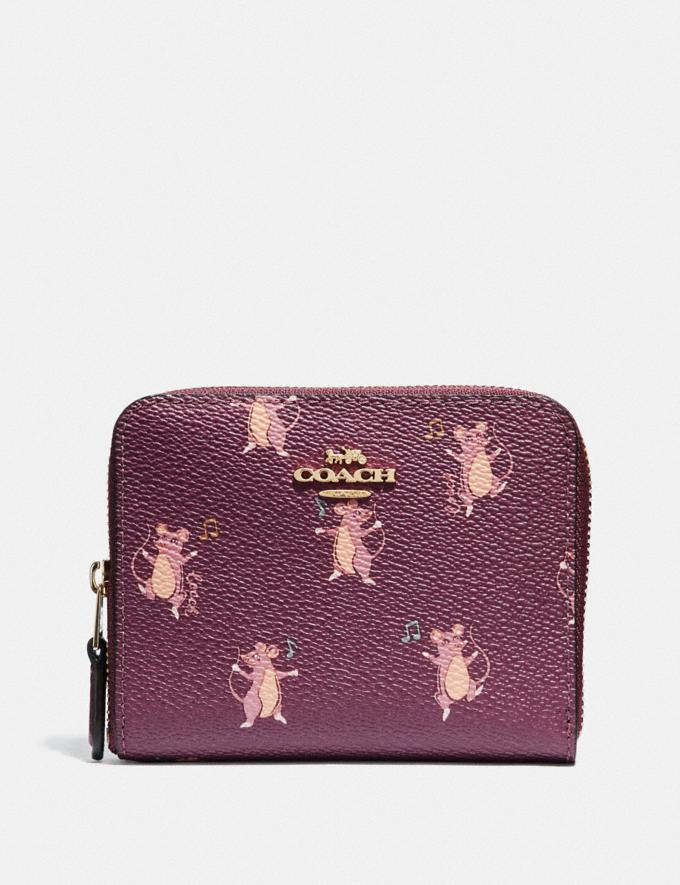 Coach Small Zip Around Wallet With Party Mouse Print Dark Berry/Gold Women Small Leather Goods Small Wallets