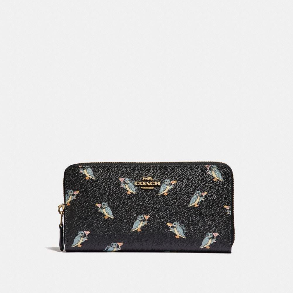 Coach Accordion Zip Wallet With Party Owl Print