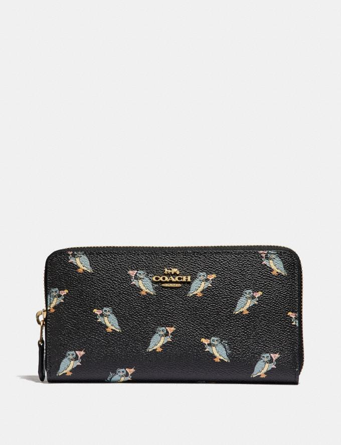 Coach Accordion Zip Wallet With Party Owl Print Black/Gold Women Small Leather Goods Large Wallets