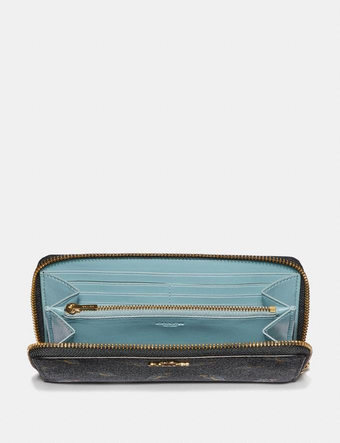 Coach Accordion Zip Wallet With Party Owl Print Black/Gold SALE Women's Sale Wallets & Wristlets Alternate View 1