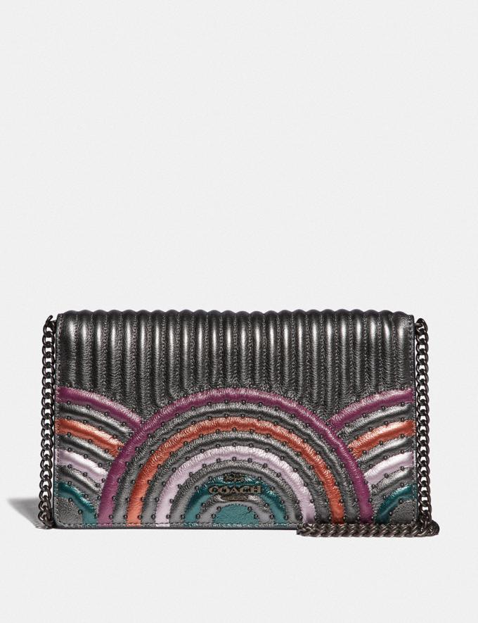 Coach Callie Foldover Chain Clutch With Colorblock Deco Quilting and Rivets Metallic Graphite Multi/Pewter SALE Boxing Week New to Sale