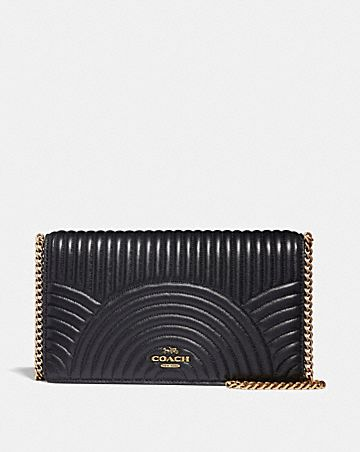 Callie Foldover Chain Clutch With Deco Quilting