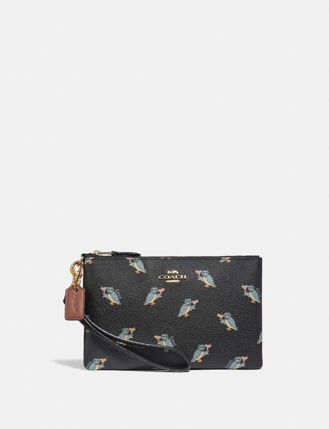 Coach Small Wristlet With Party Owl Print Black/Gold Women Small Leather Goods Wristlets