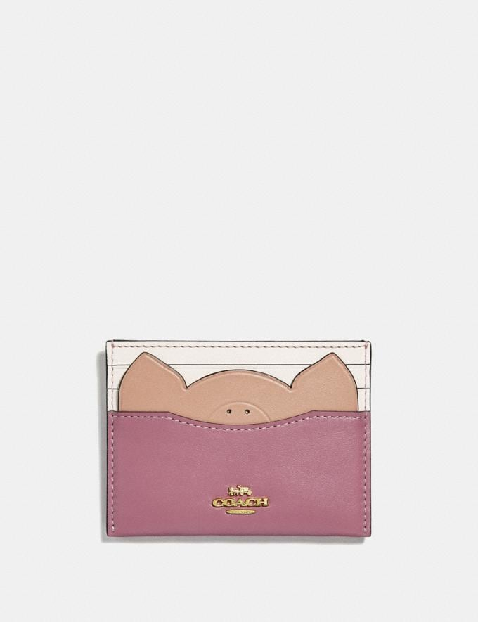 Coach Card Case With Pig Rose/Gold VIP SALE Women's Sale Wallets & Wristlets