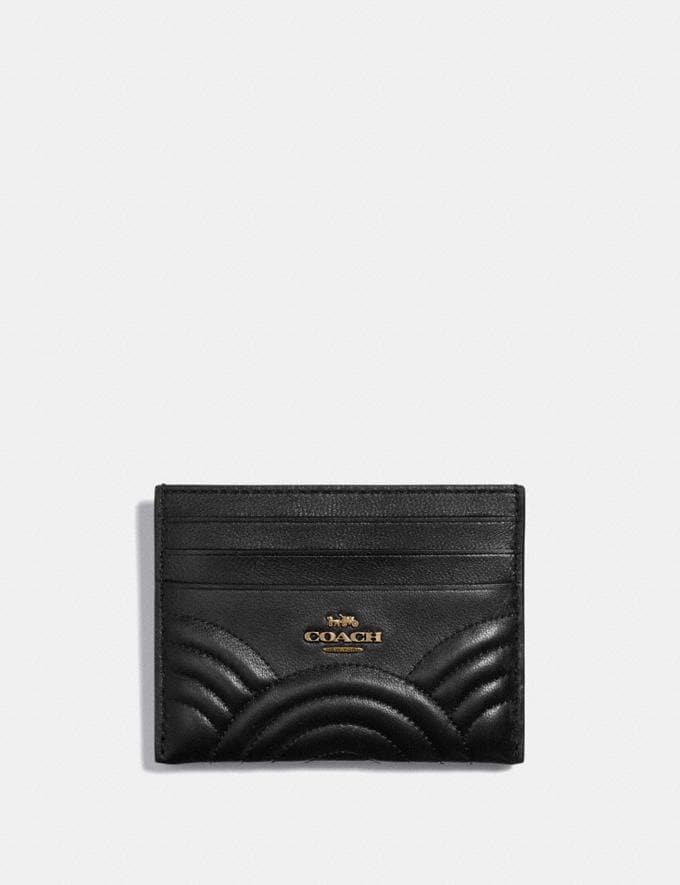 Coach Card Case With Deco Quilting Black/Brass Women Wallets & Wristlets