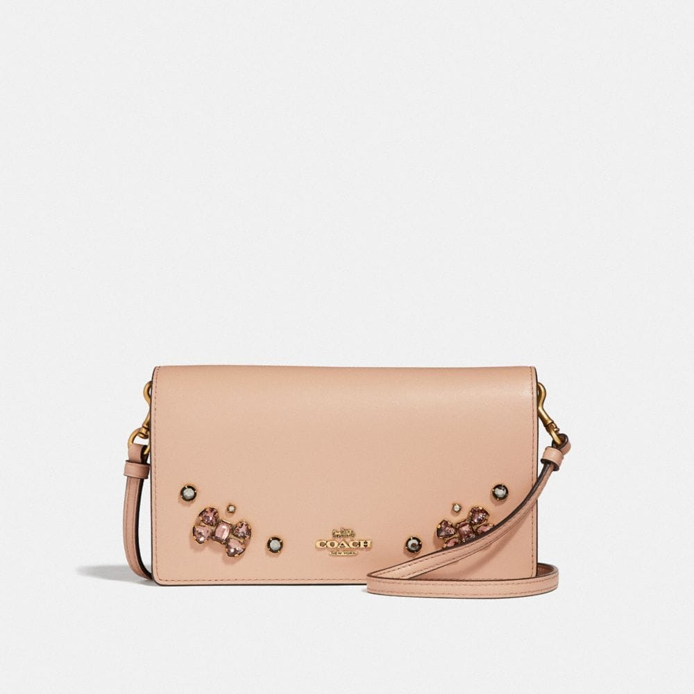 hayden foldover crossbody clutch with crystal applique