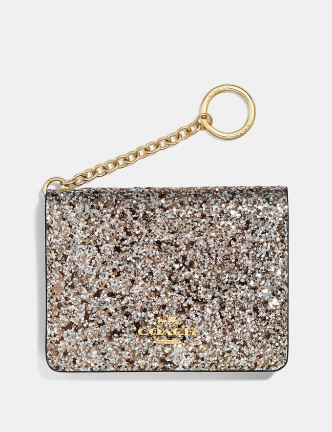 Coach Key Ring Card Case Platinum/Gold Gifts For Her Under £100