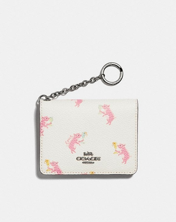 Coach KEY RING CARD CASE WITH PARTY PIG PRINT