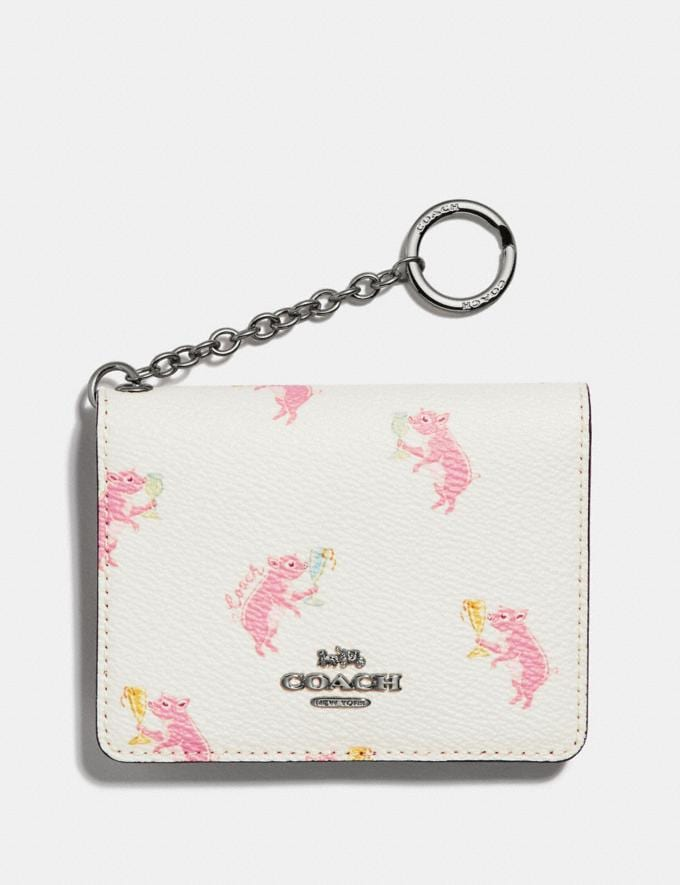 Coach Key Ring Card Case With Party Pig Print Chalk/Silver Women Wallets & Wristlets Small Wallets