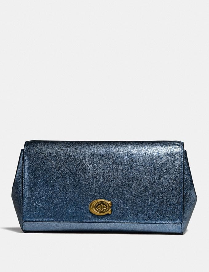 Coach Alexa Turnlock Clutch Metallic Blue/Brass Women Bags Clutches