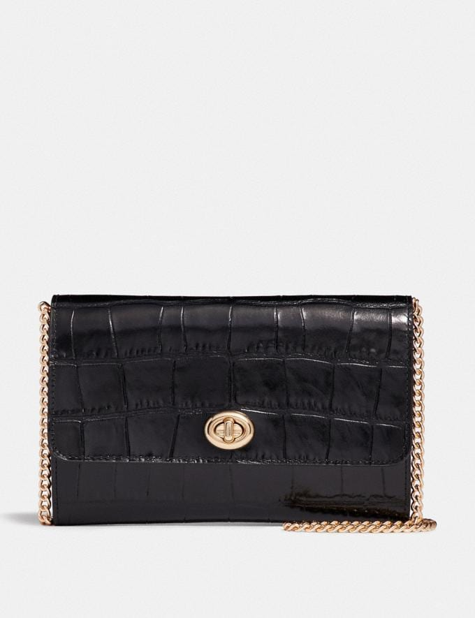 Coach Marlow Turnlock Chain Crossbody Black/Gold CYBER MONDAY SALE Women's Sale Wallets & Wristlets