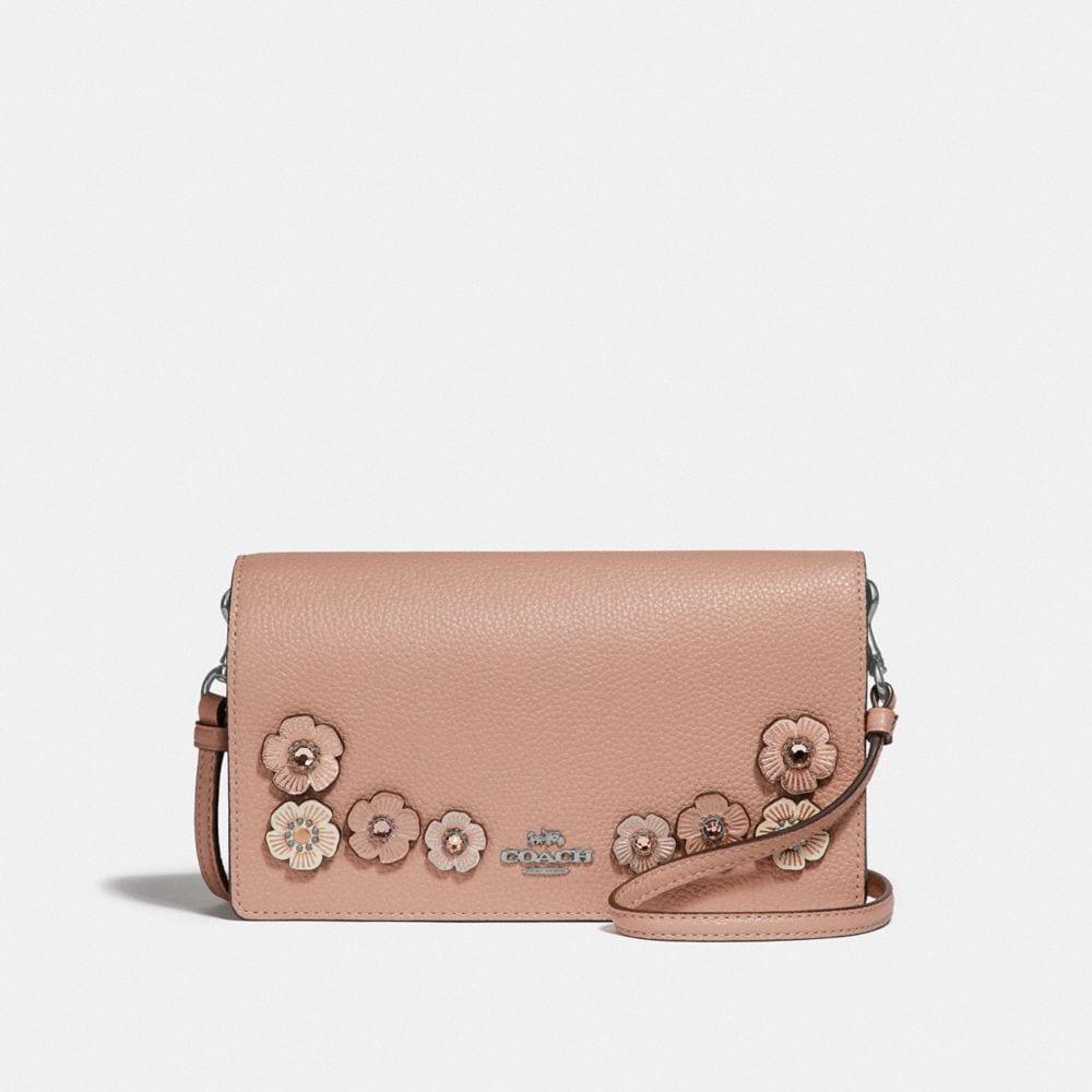 pochette ripiegata hayden a tracolla con motivo rosa tea con cristalli