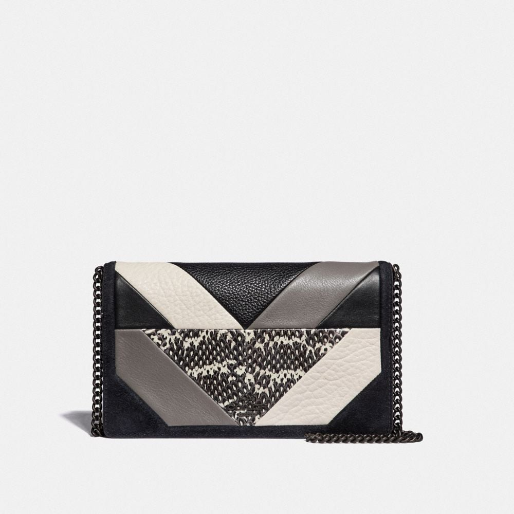 CALLIE FOLDOVER CHAIN CLUTCH WITH PATCHWORK AND SNAKESKIN DETAIL