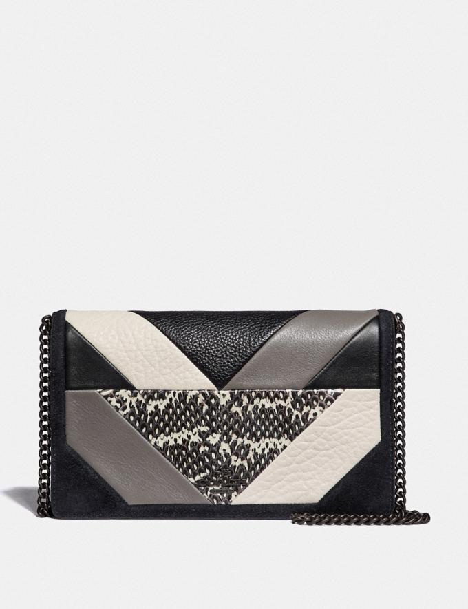 Coach Callie Foldover Chain Clutch With Patchwork and Snakeskin Detail Black Multi/Pewter Women Bags Clutches