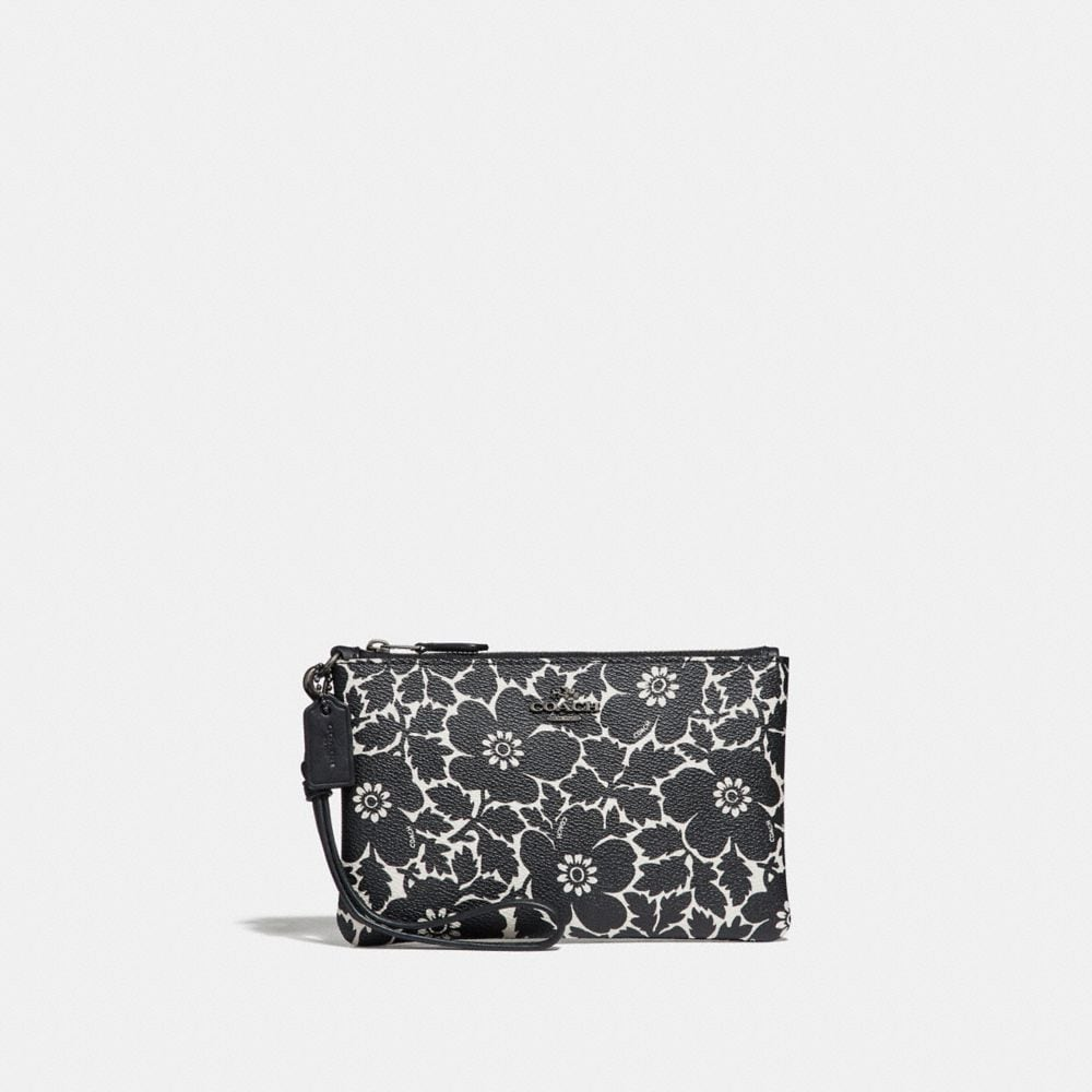 Coach Small Wristlet With Anemone Print