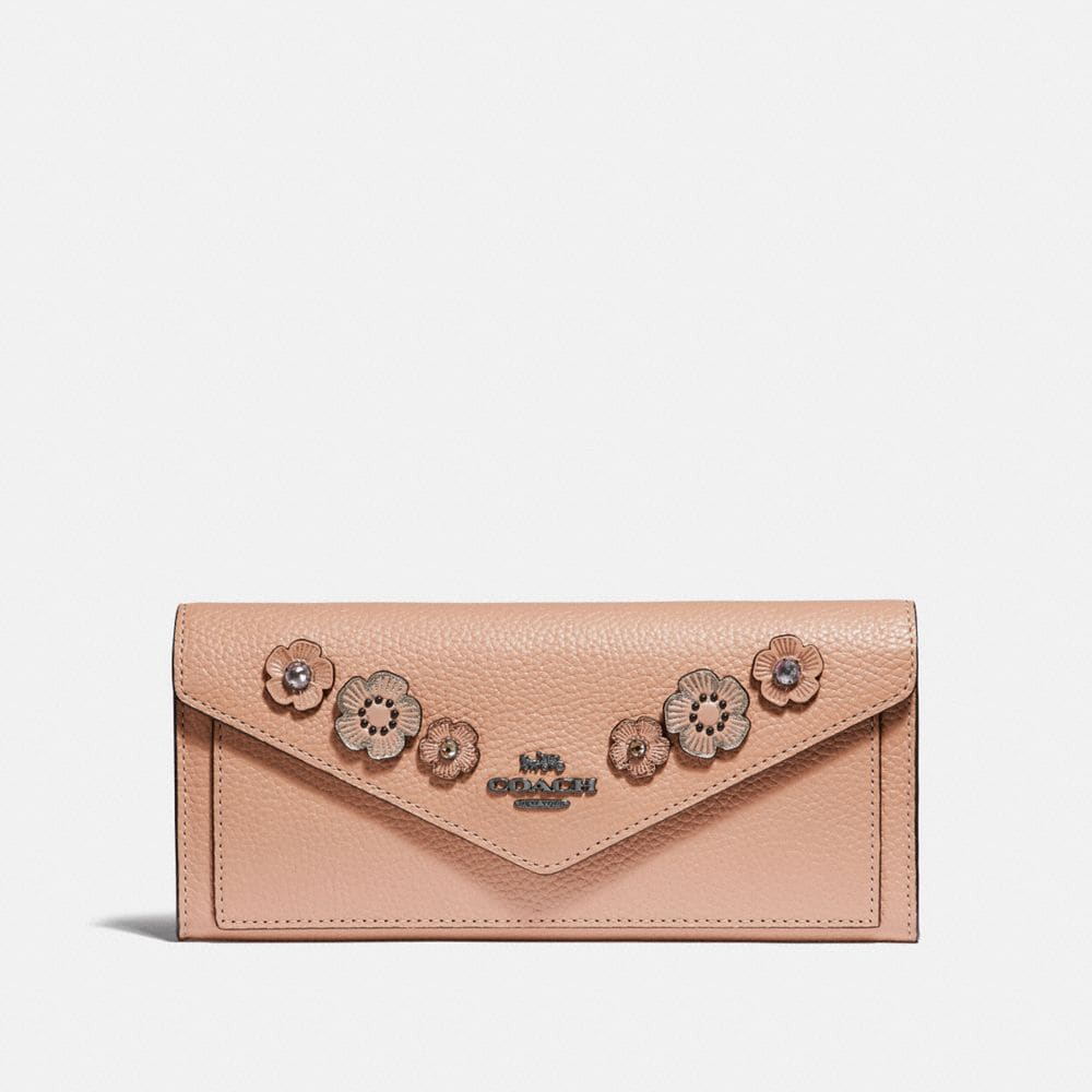 Coach Soft Wallet With Crystal Tea Rose