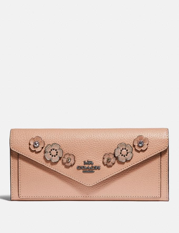 Coach Soft Wallet With Crystal Tea Rose Nude Pink/Gunmetal Women Small Leather Goods Large Wallets