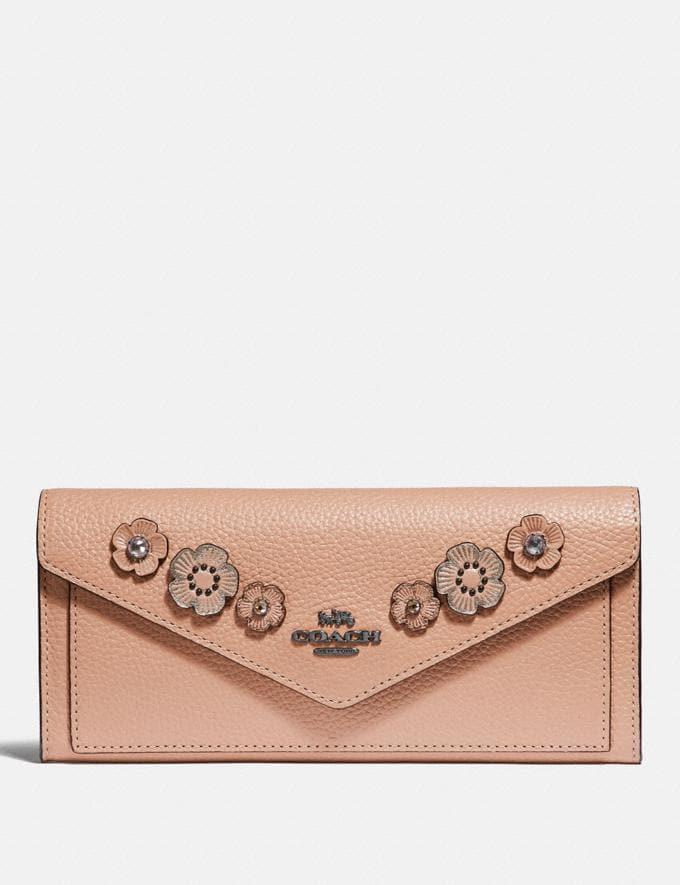 Coach Soft Wallet With Crystal Tea Rose Nude Pink/Gunmetal VIP SALE Women's Sale Wallets & Wristlets