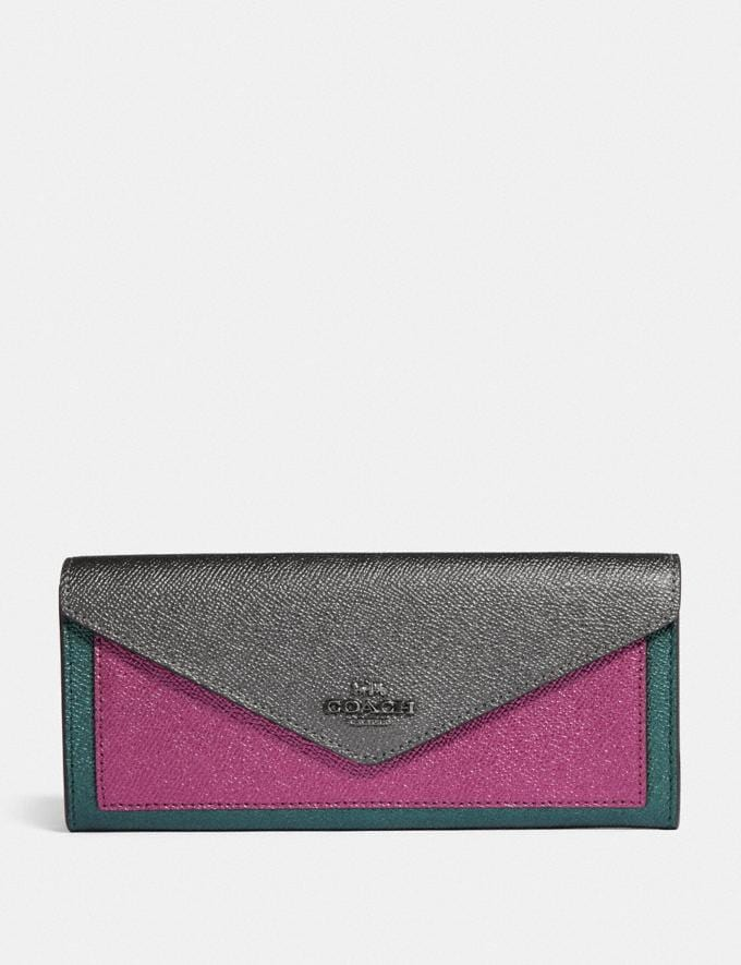 Coach Soft Wallet in Colorblock Metallic Graphite Multi/Gunmetal Women Small Leather Goods Large Wallets