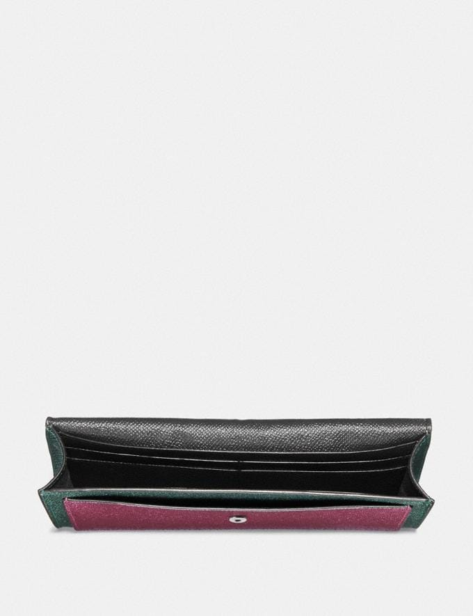 Coach Soft Wallet in Colorblock Metallic Graphite Multi/Gunmetal Women Small Leather Goods Large Wallets Alternate View 1
