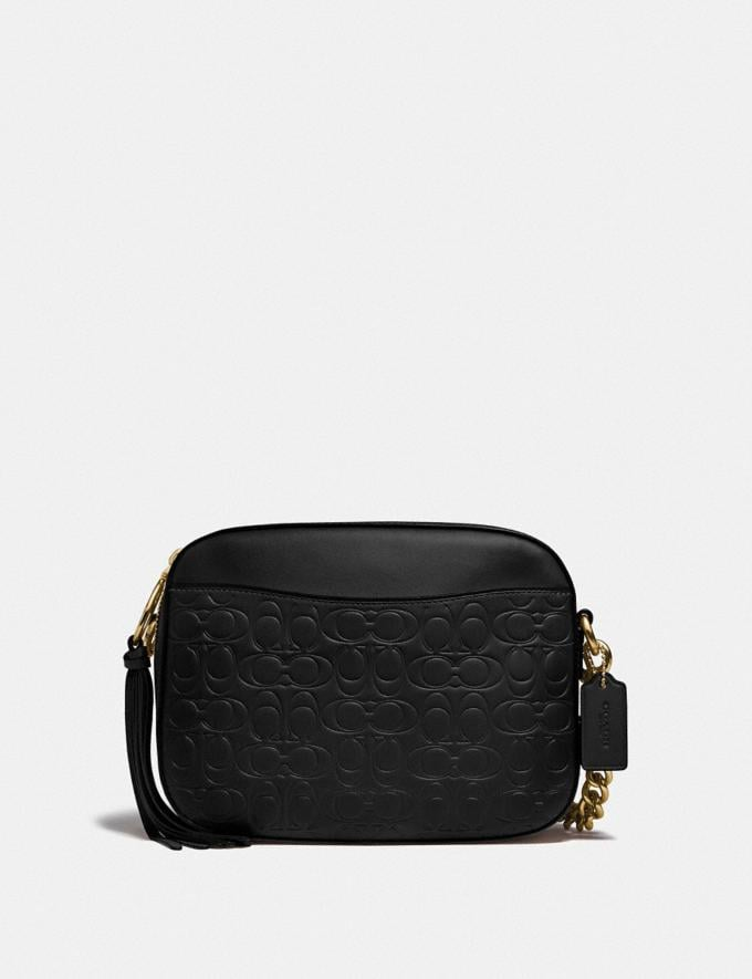 Coach Camera Bag in Signature Leather Black/Gold Women Bags Crossbody Bags