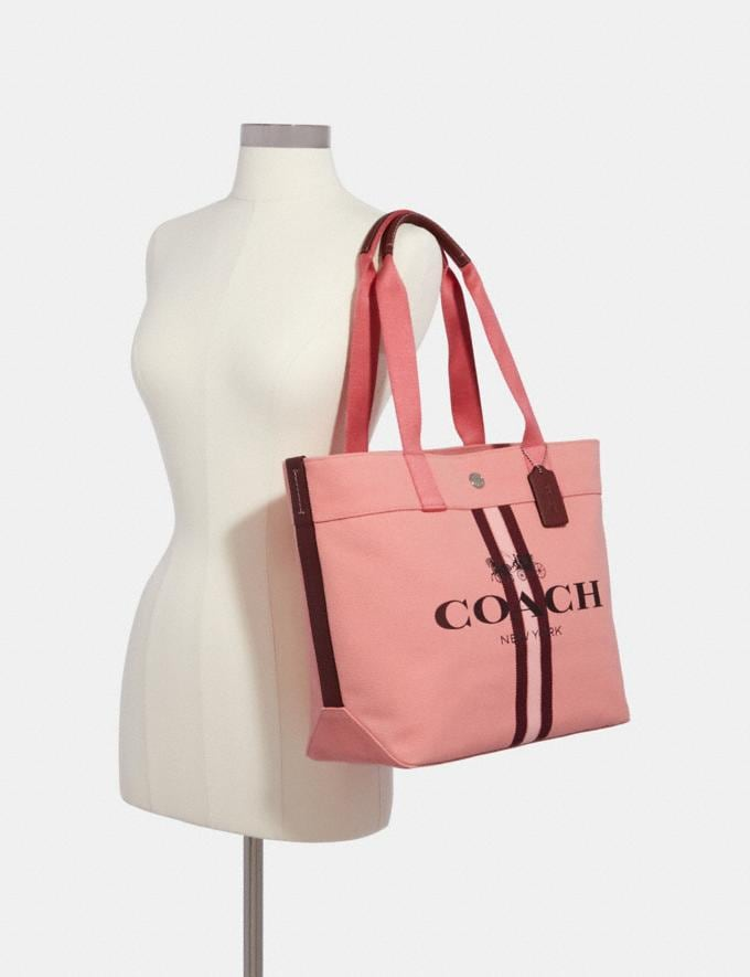 Coach Tote With Stripe Sv/Bright Coral  Alternate View 2