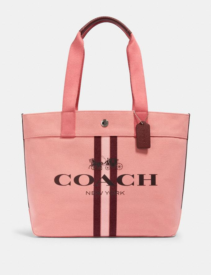 Coach Tote With Stripe Sv/Bright Coral